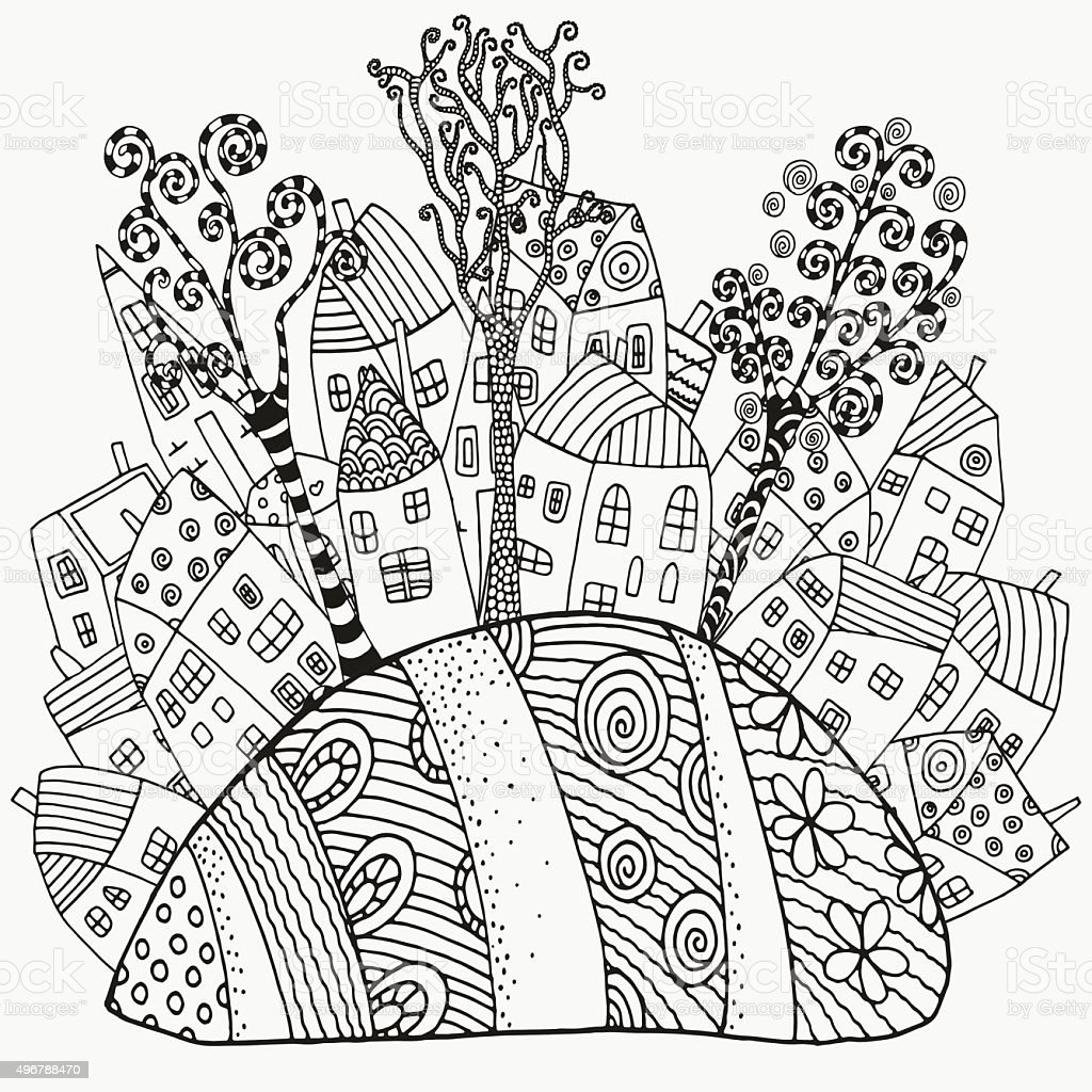 Th the magical city colouring in book - Magic City Pattern For Coloring Book With Artistically Houses