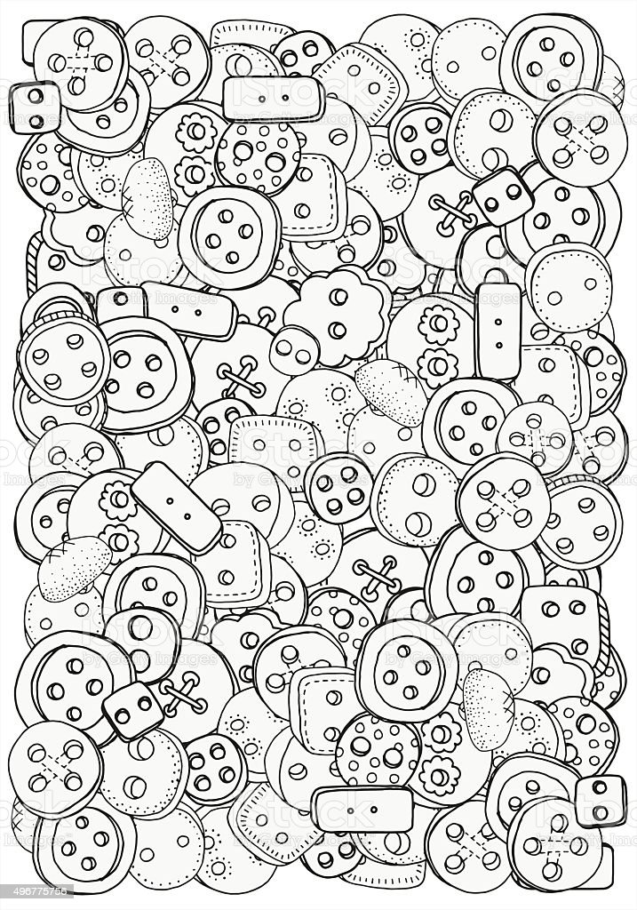 Pattern for coloring book with clothes buttons. vector art illustration