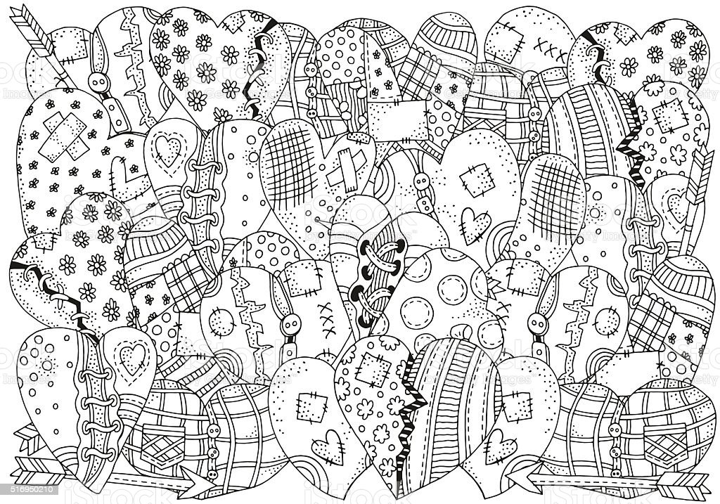 Pattern for coloring book with hand drawn hearts  in vector vector art illustration