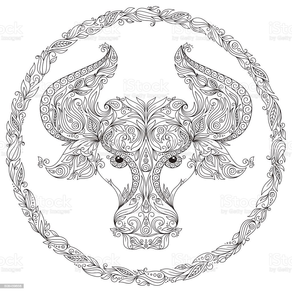 Zodiac animal coloring pages - Pattern For Coloring Book Zodiac Taurus Royalty Free Stock Vector Art