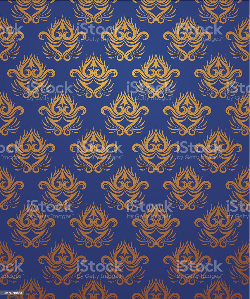 Pattern Gold and Blue vector art illustration