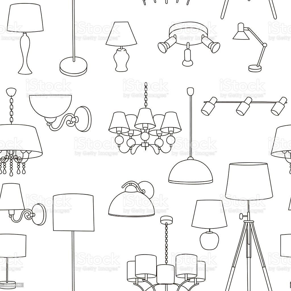 Wall Lamps Vector : Pattern Home Lighting Floor Wall Lamps stock vector art 538895260 iStock