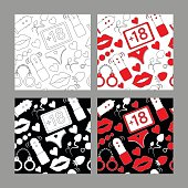 Pattern line icon set for sex shop or valentine's day