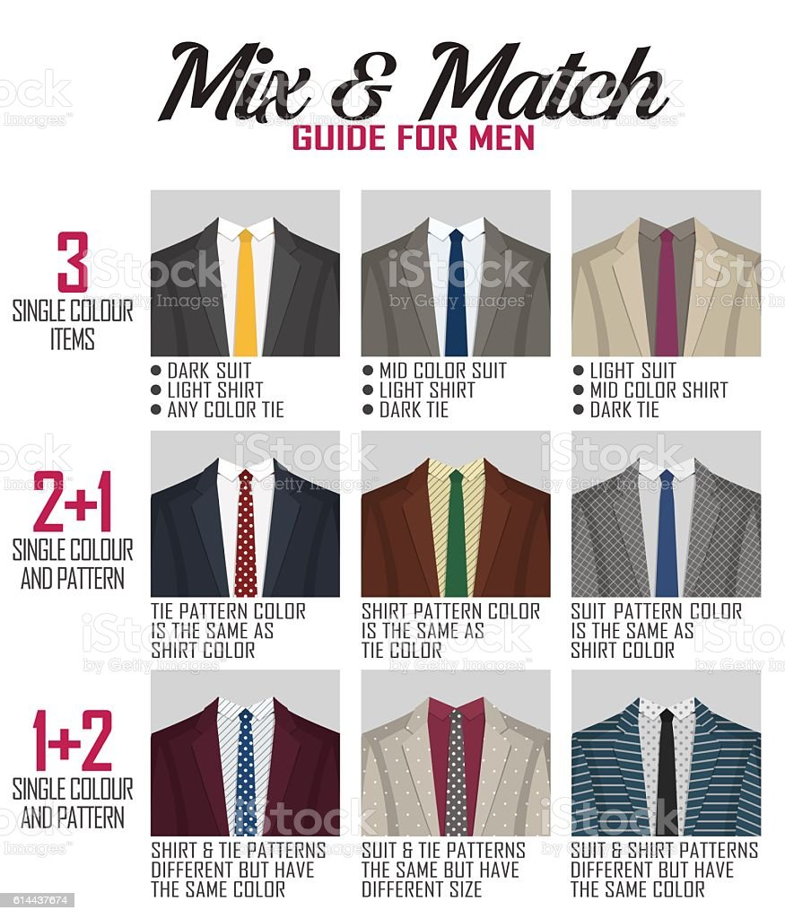 Pattern mix match guide for suit vector art illustration