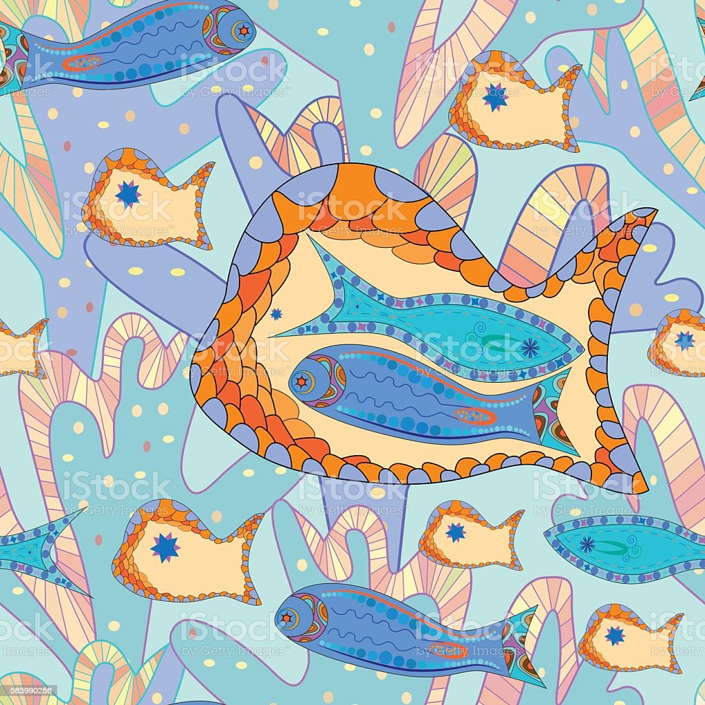 Pattern of abstract graphic fishes, algae, blue and beige royalty-free stock vector art
