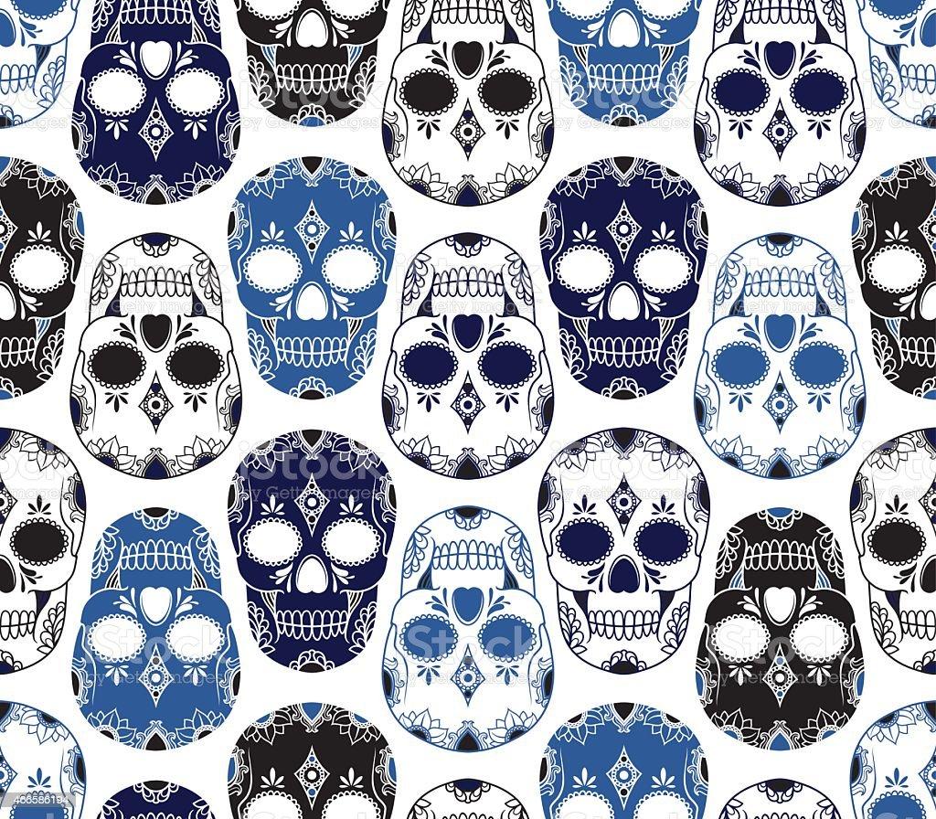 Pattern of blue, black and white skulls vector art illustration