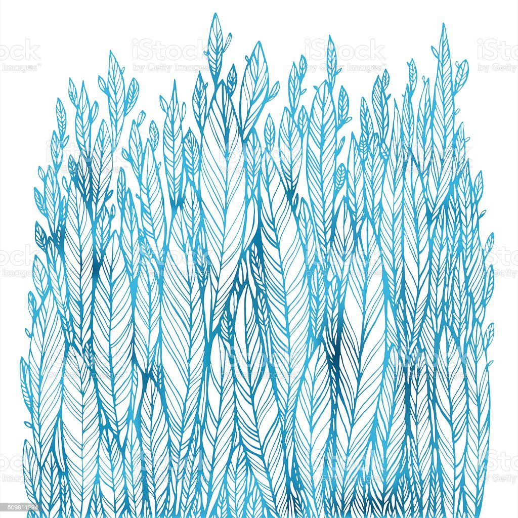 pattern of blue leaves, grass, feathers vector art illustration