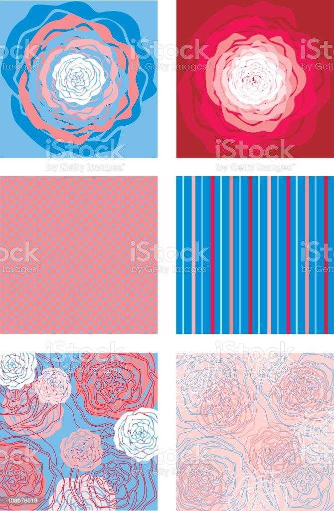 Pattern of Blue Rose vector art illustration