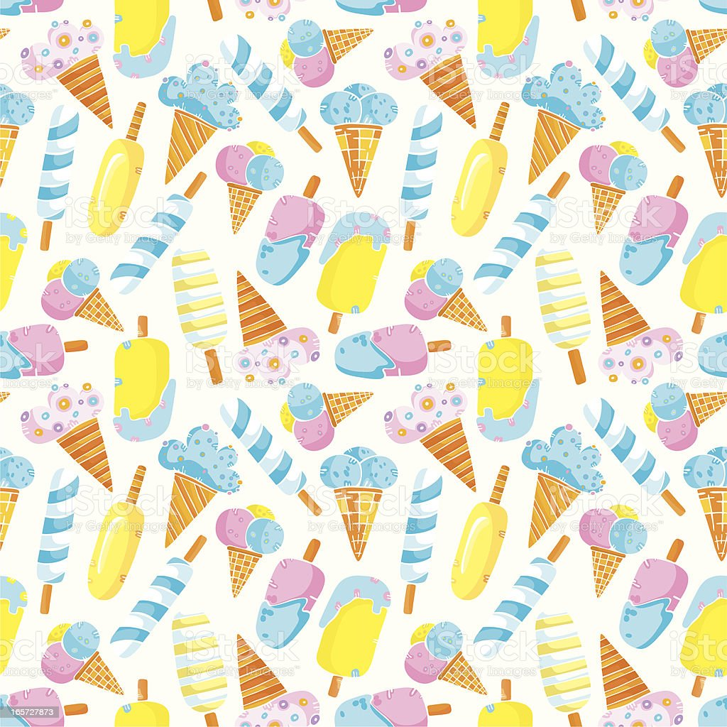 Pattern of colored ice-creams royalty-free stock vector art