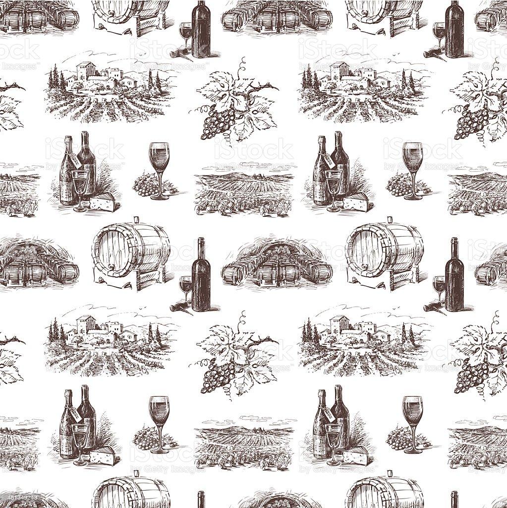 Pattern of grape wine vector art illustration
