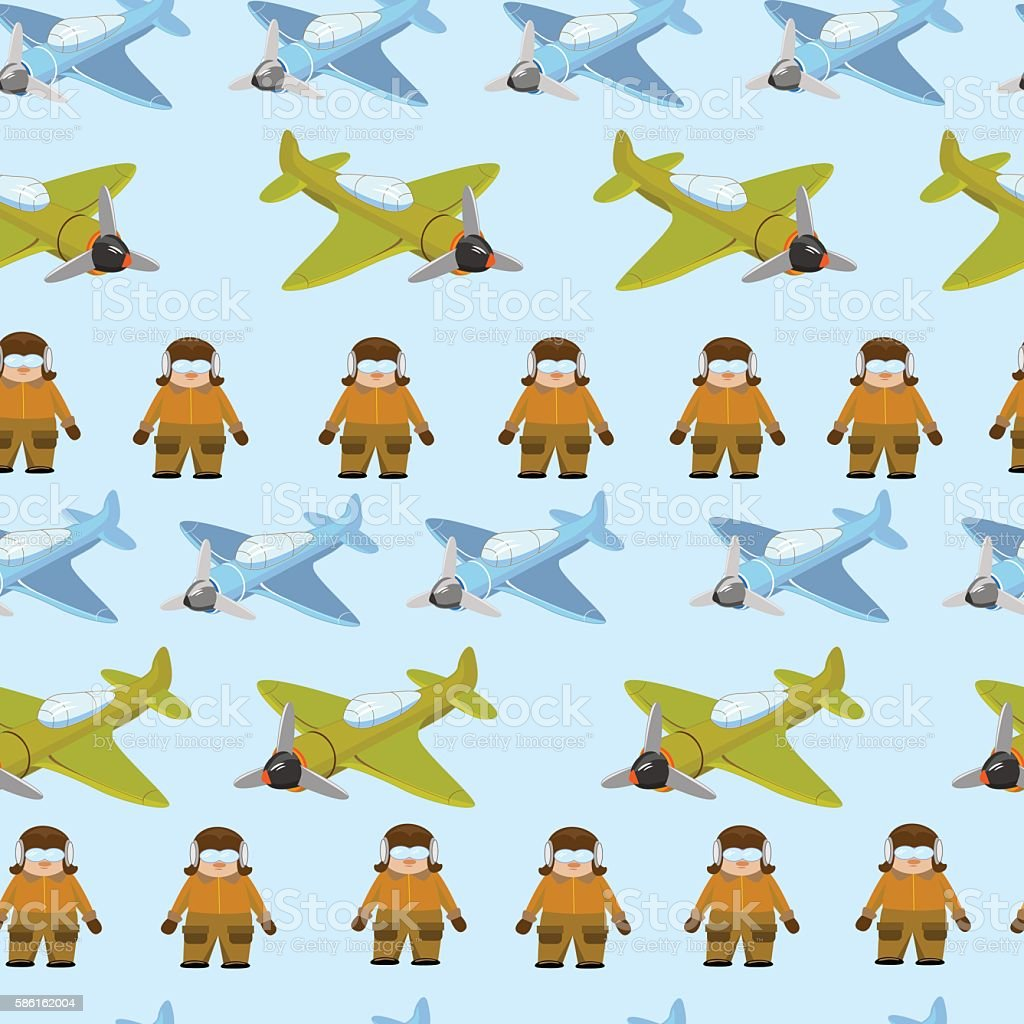 pattern of green and blue plane with pilot royalty-free stock vector art