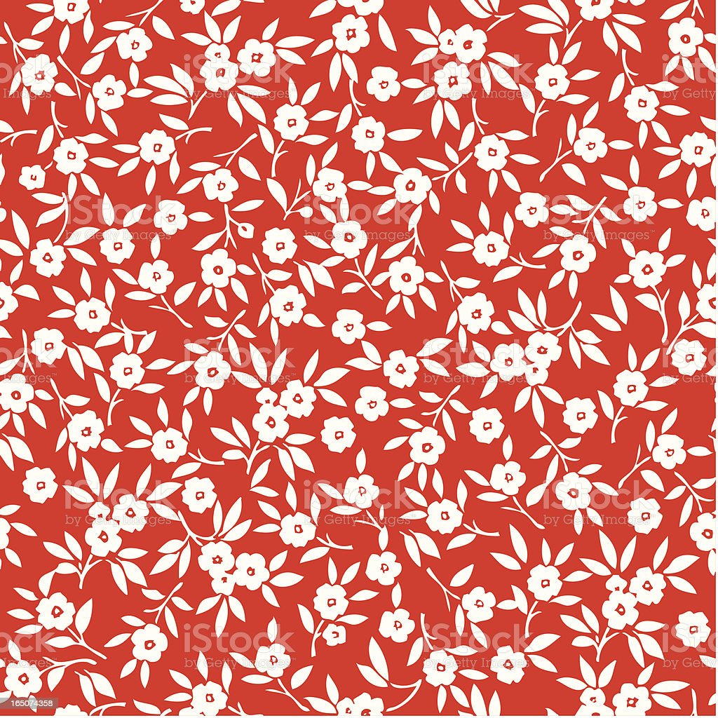 Pattern of many white flowers on a red background vector art illustration
