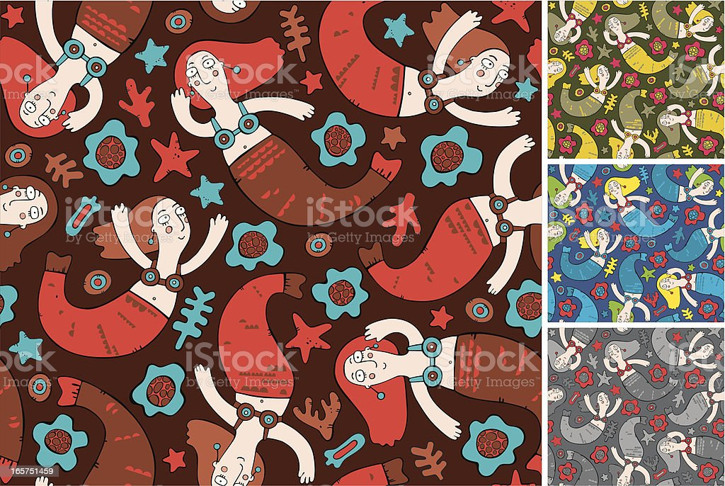 pattern of mermaid royalty-free stock vector art