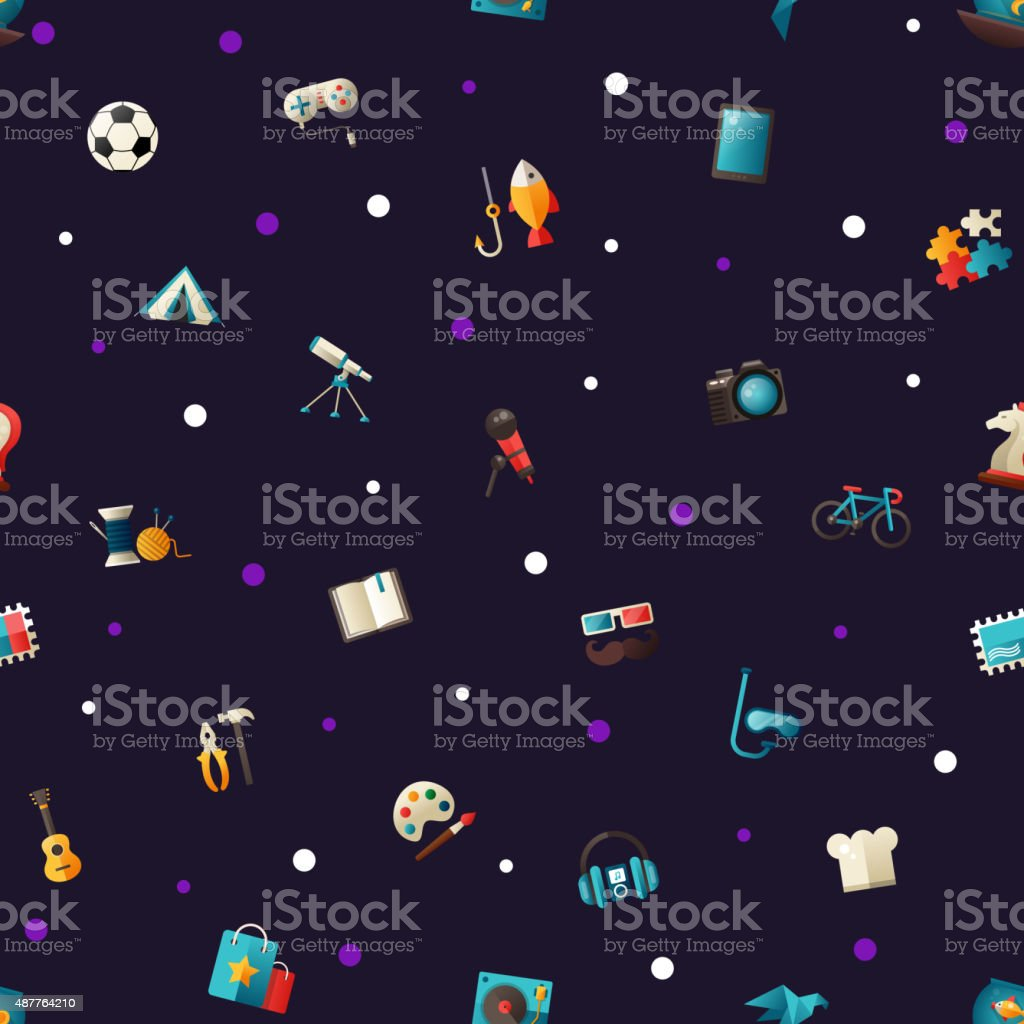 Pattern of modern flat design hobby icons and infographics elements vector art illustration