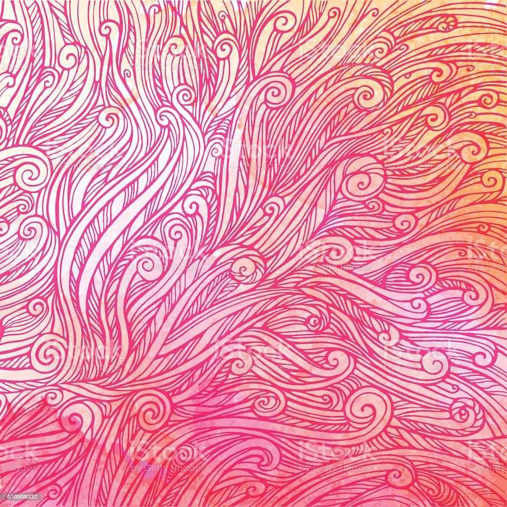pattern of red pink curls, waves, watercolor abstract background vector art illustration