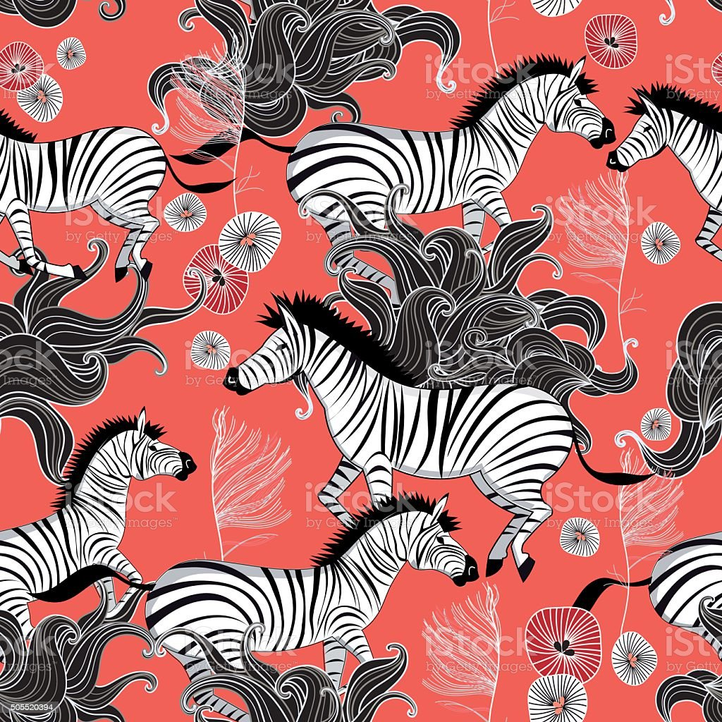 pattern of running zebras vector art illustration