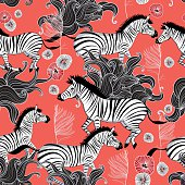 pattern of running zebras