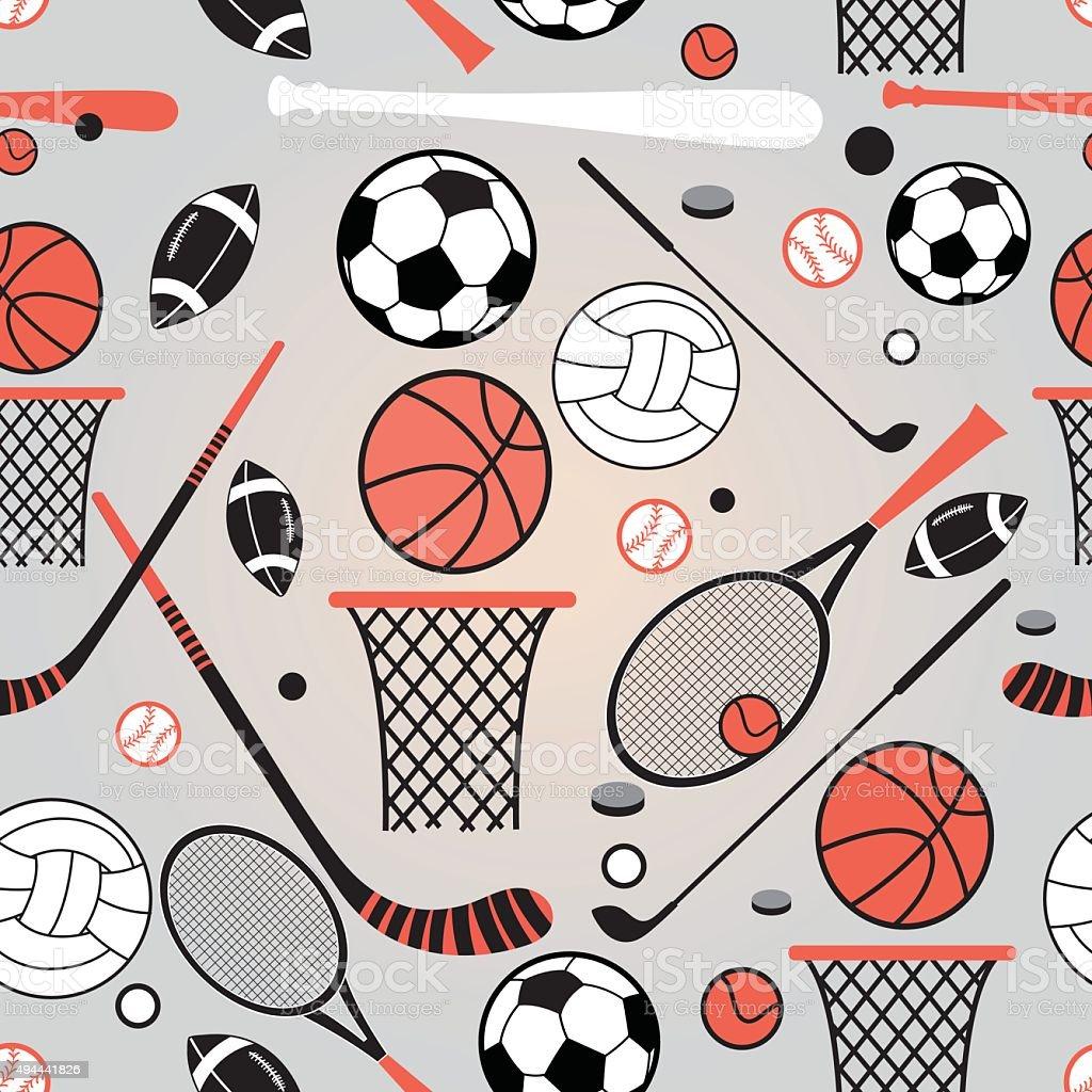 pattern of sporting goods vector art illustration