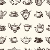 pattern of teacups and teapots