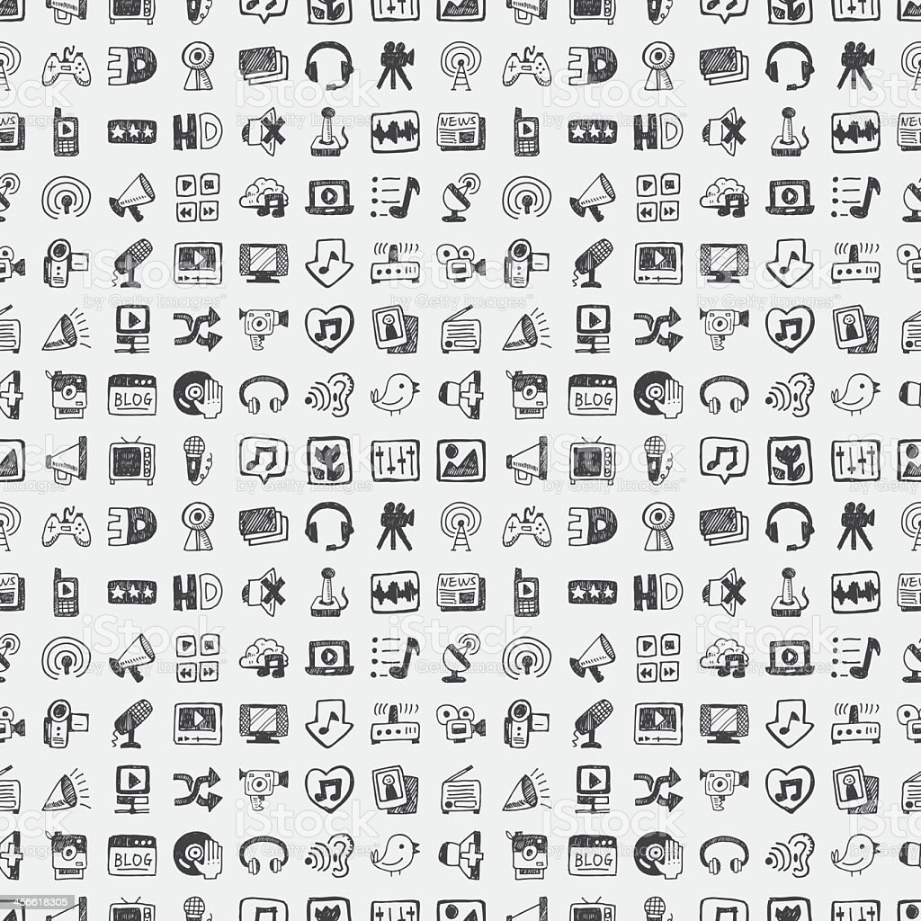 Pattern of technology, media and social icons vector art illustration