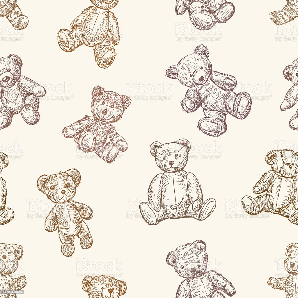 pattern of teddy bears vector art illustration