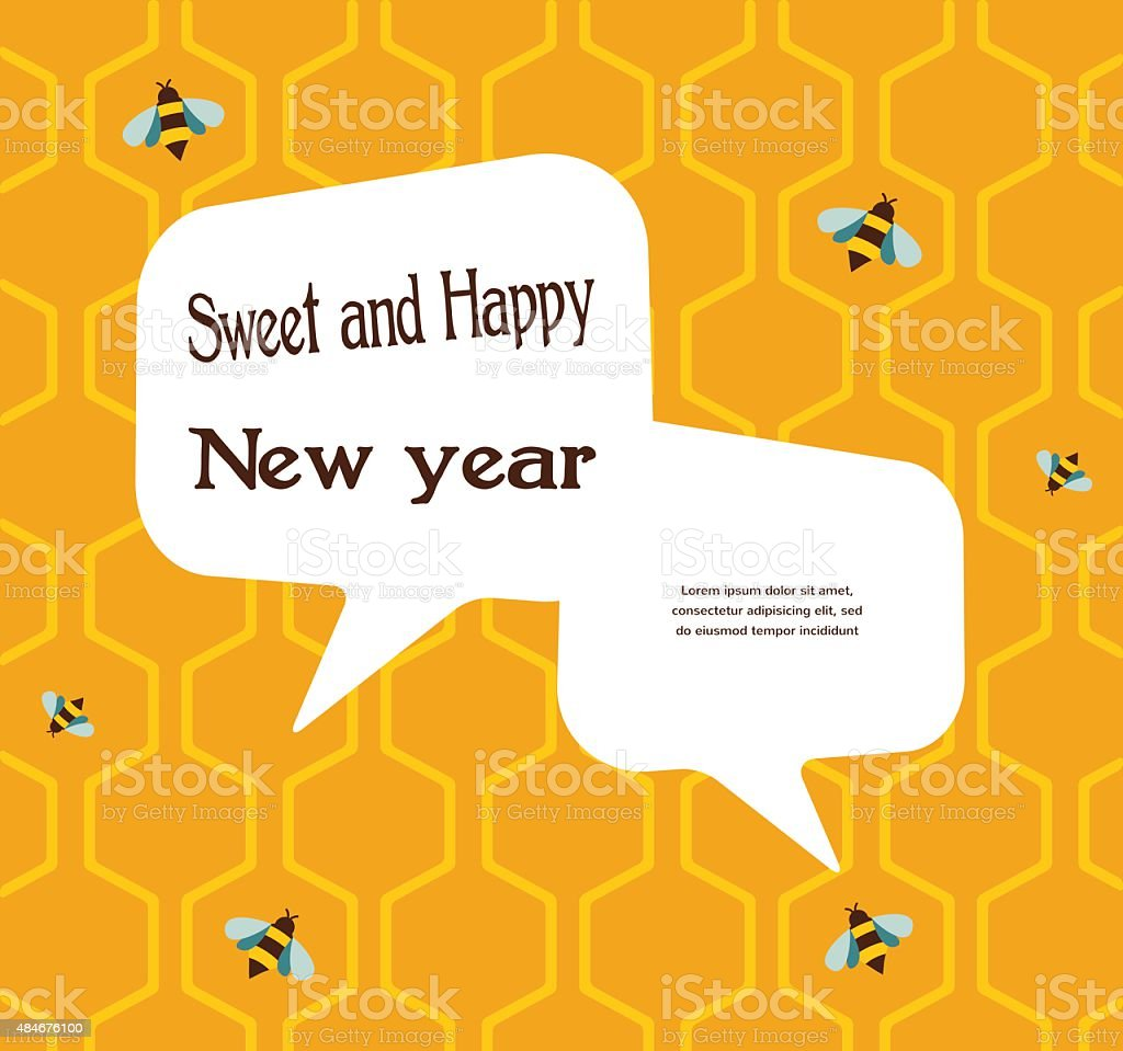pattern of the bee on honeycombs background for rosh hashana vector art illustration