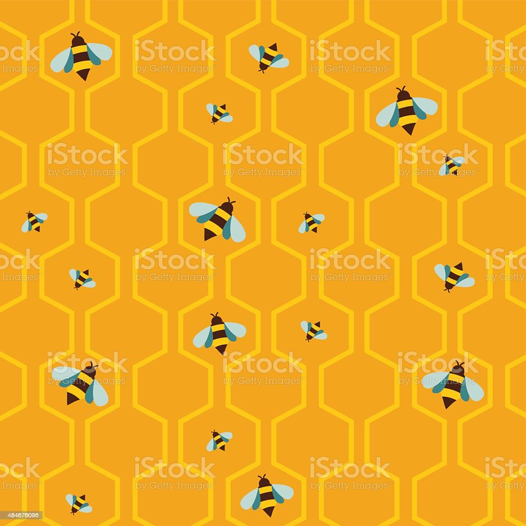 pattern of the bee on honeycombs background vector art illustration