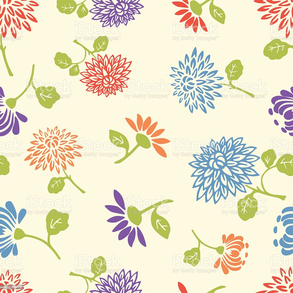 pattern of the garden flowers vector art illustration