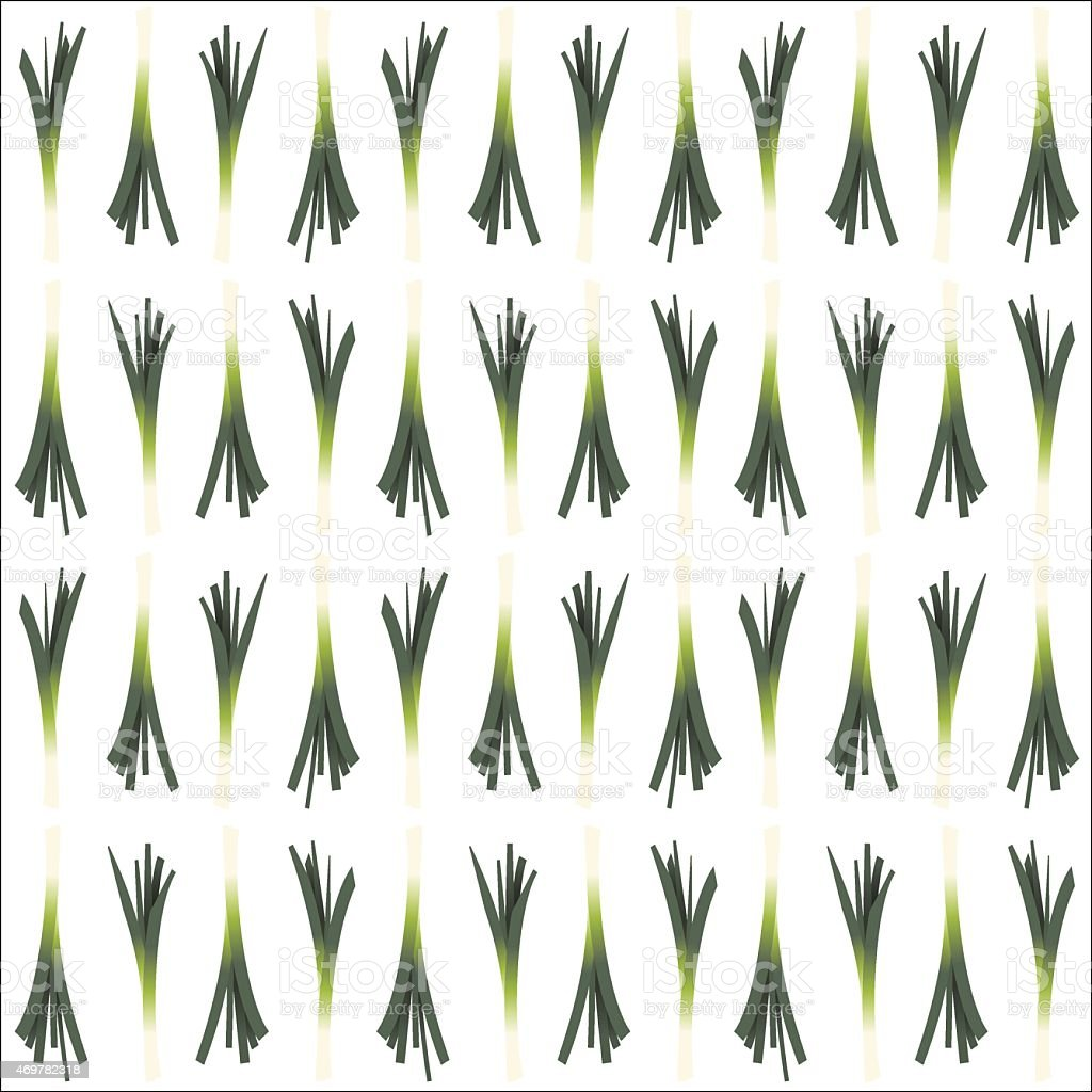 Pattern of the leeks organized on the white background. vector art illustration