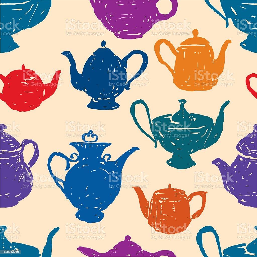 pattern of the tea pots vector art illustration