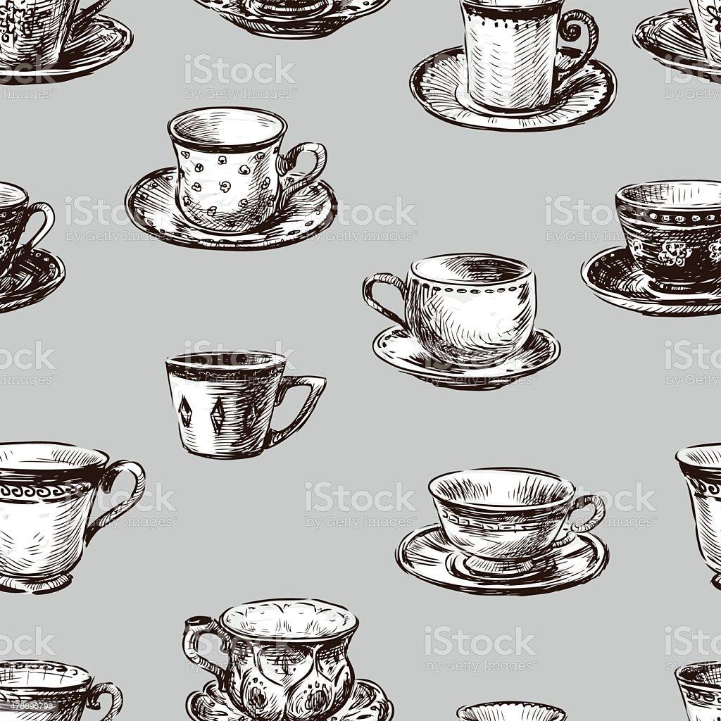 pattern of the teacups vector art illustration