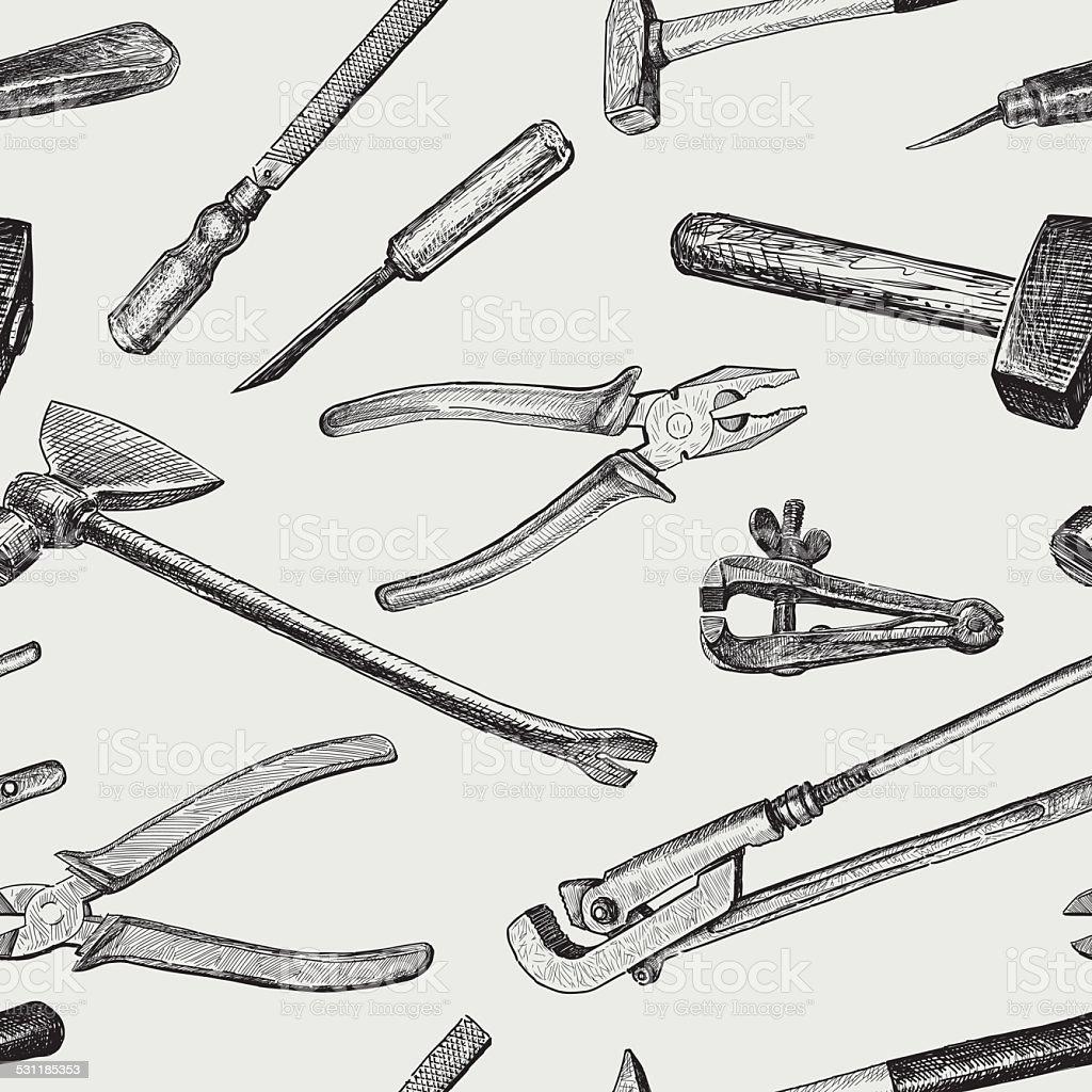 pattern of the work tools vector art illustration