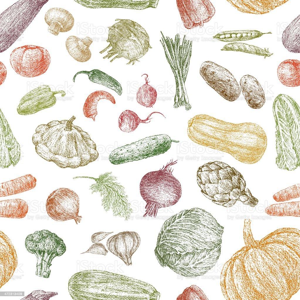 pattern of vegetables vector art illustration