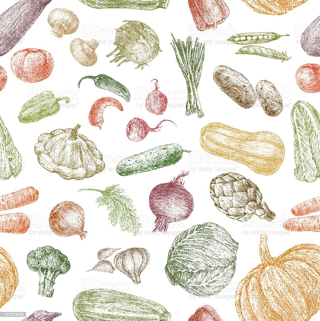 pattern of vegetables vector art illustration