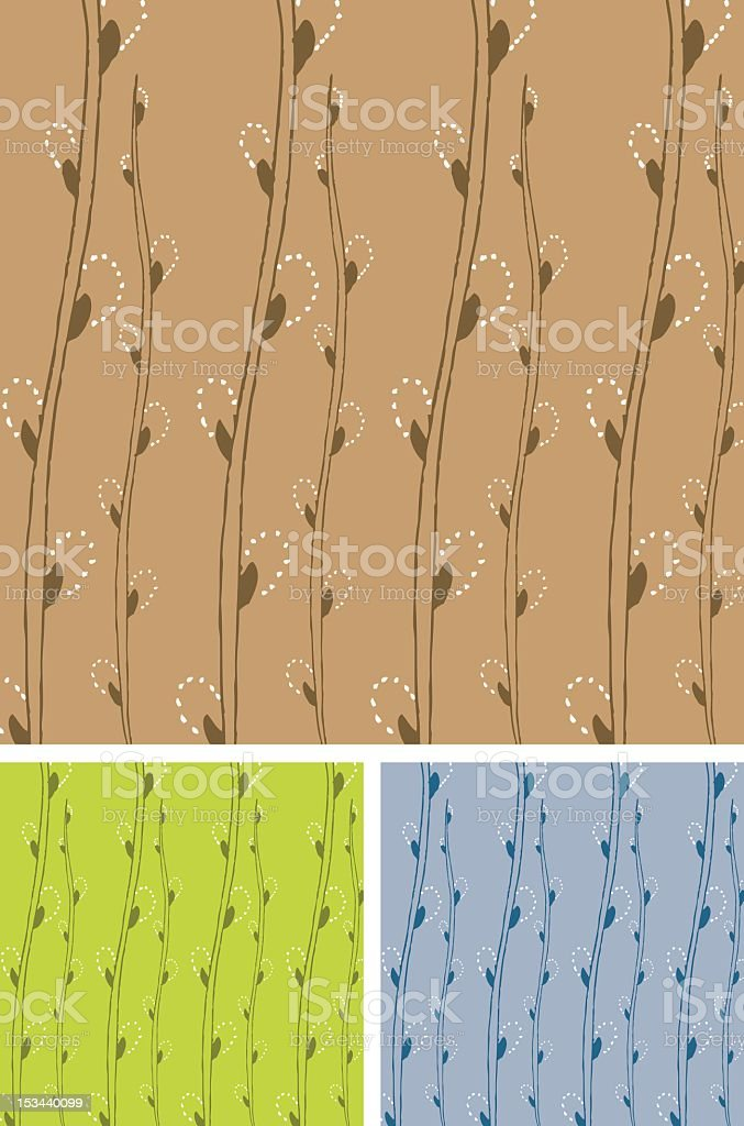 Pattern of willow branches vector art illustration