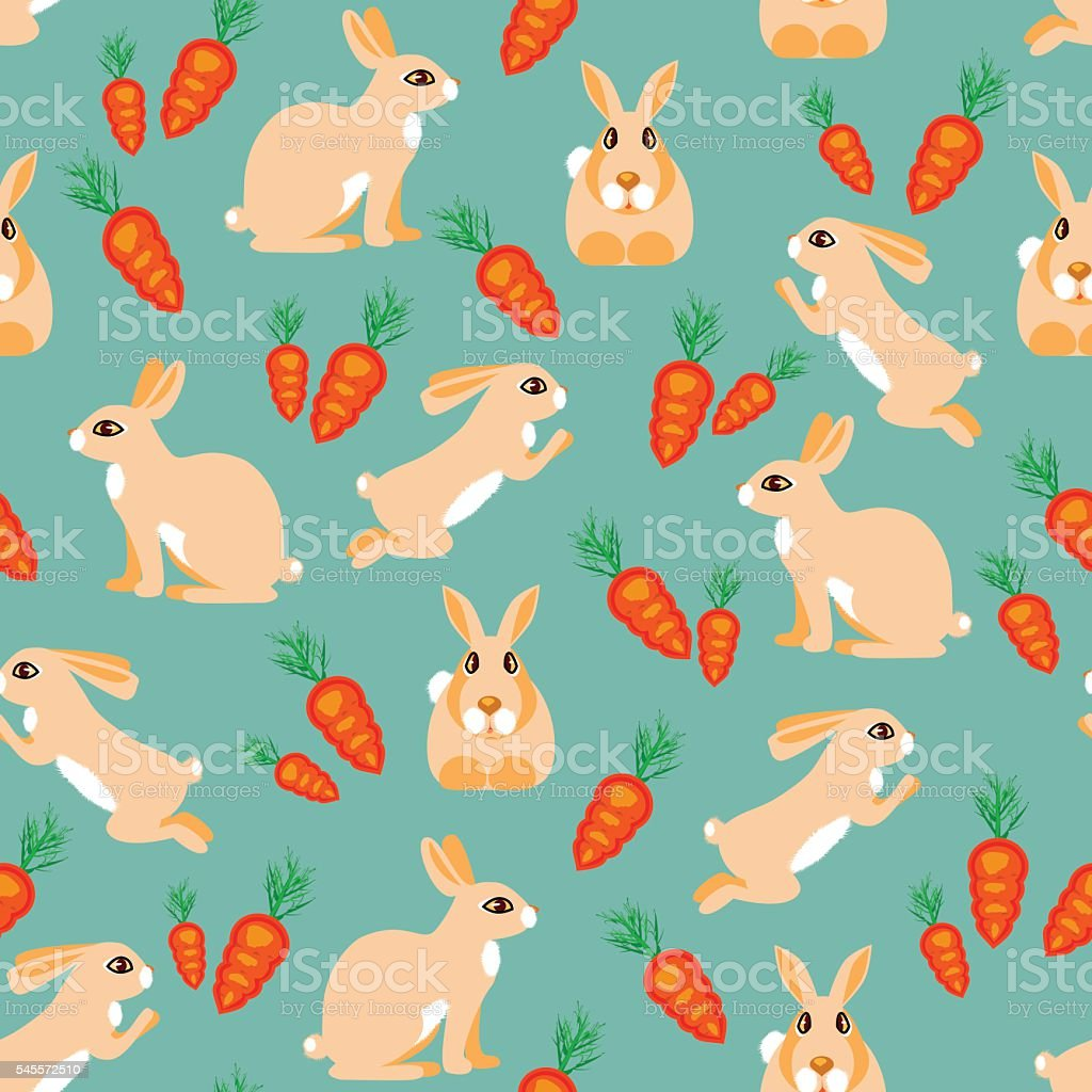 Pattern rabbit jumps, sits, lies and red carrots royalty-free stock vector art