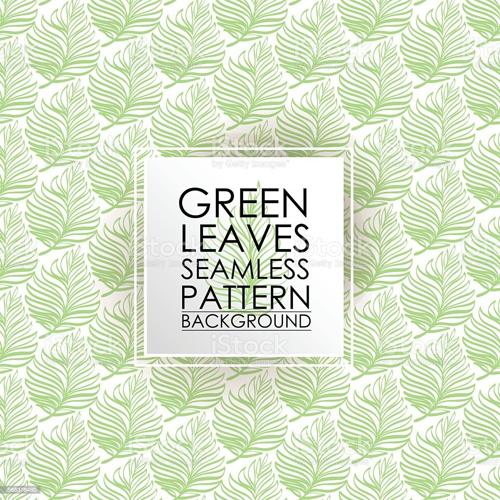 Pattern seamless fern green leaves background. vector art illustration