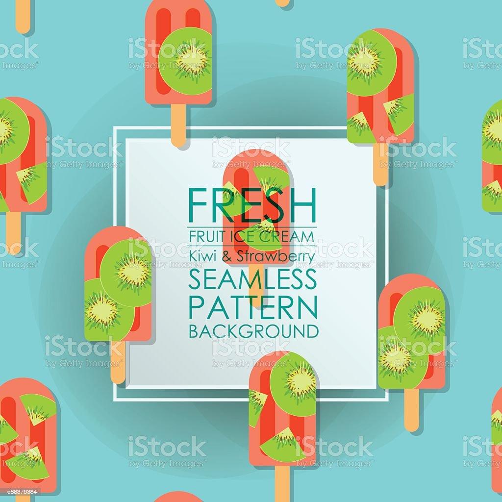 Pattern Seamless fresh fruit ice cream kiwi strawberry backgroun vector art illustration