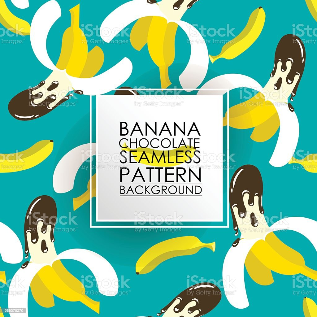 Pattern Seamless fruit background. Banana dipped in chocolate. vector art illustration