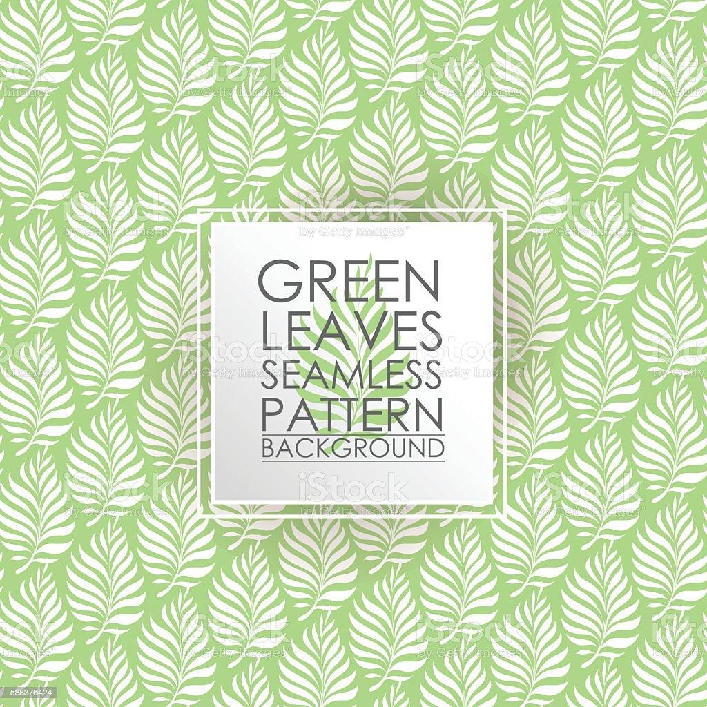 Pattern seamless green leaves background. vector art illustration