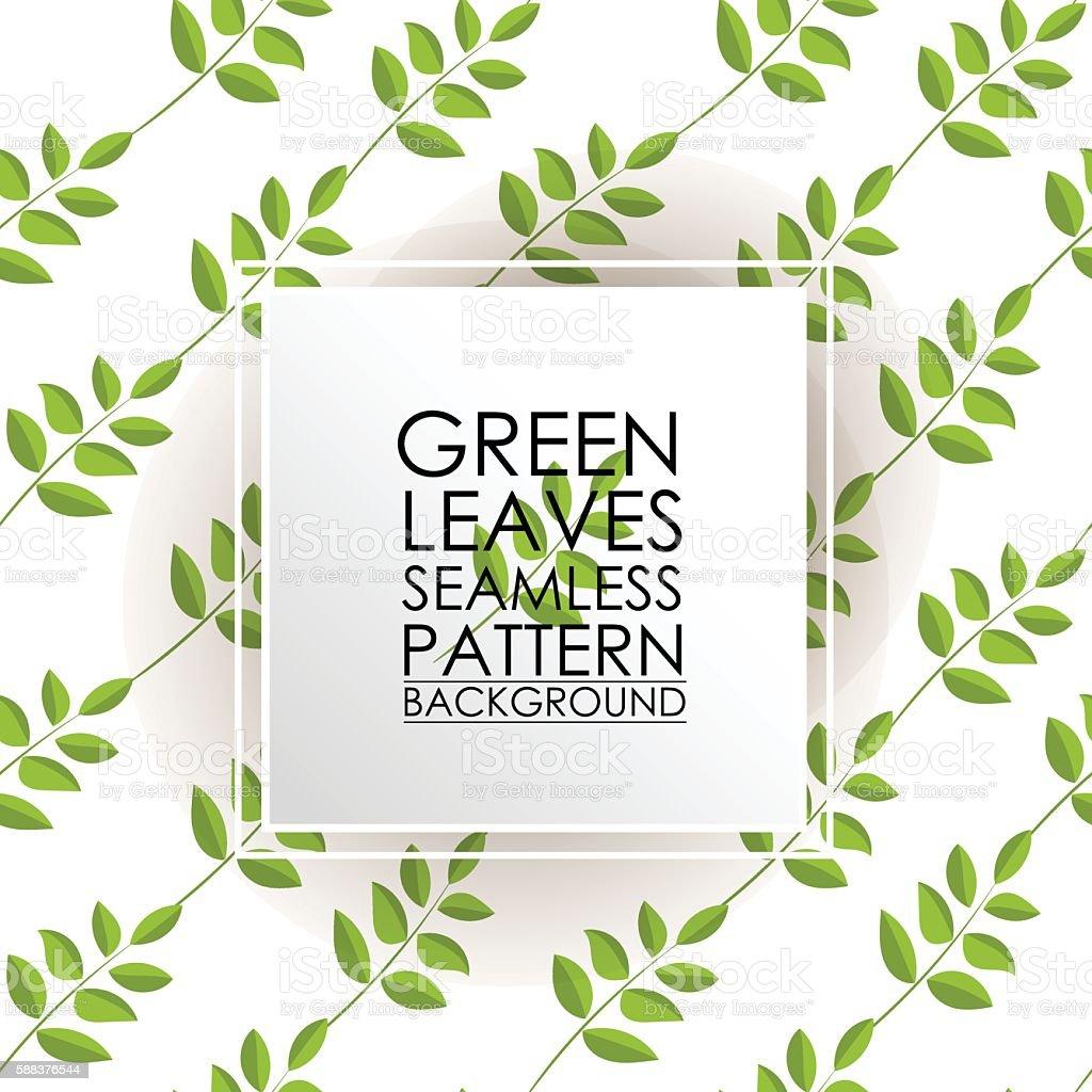 Pattern seamless green tea leaves background. vector art illustration