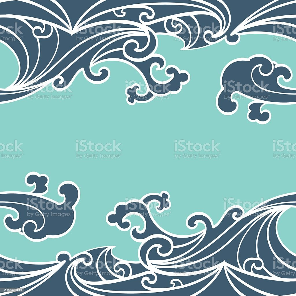 Pattern Seamless summer Ocean Waves hand drawn style vector art illustration