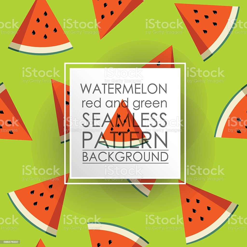 Pattern Seamless Watermelon red and green fruit background. vector art illustration