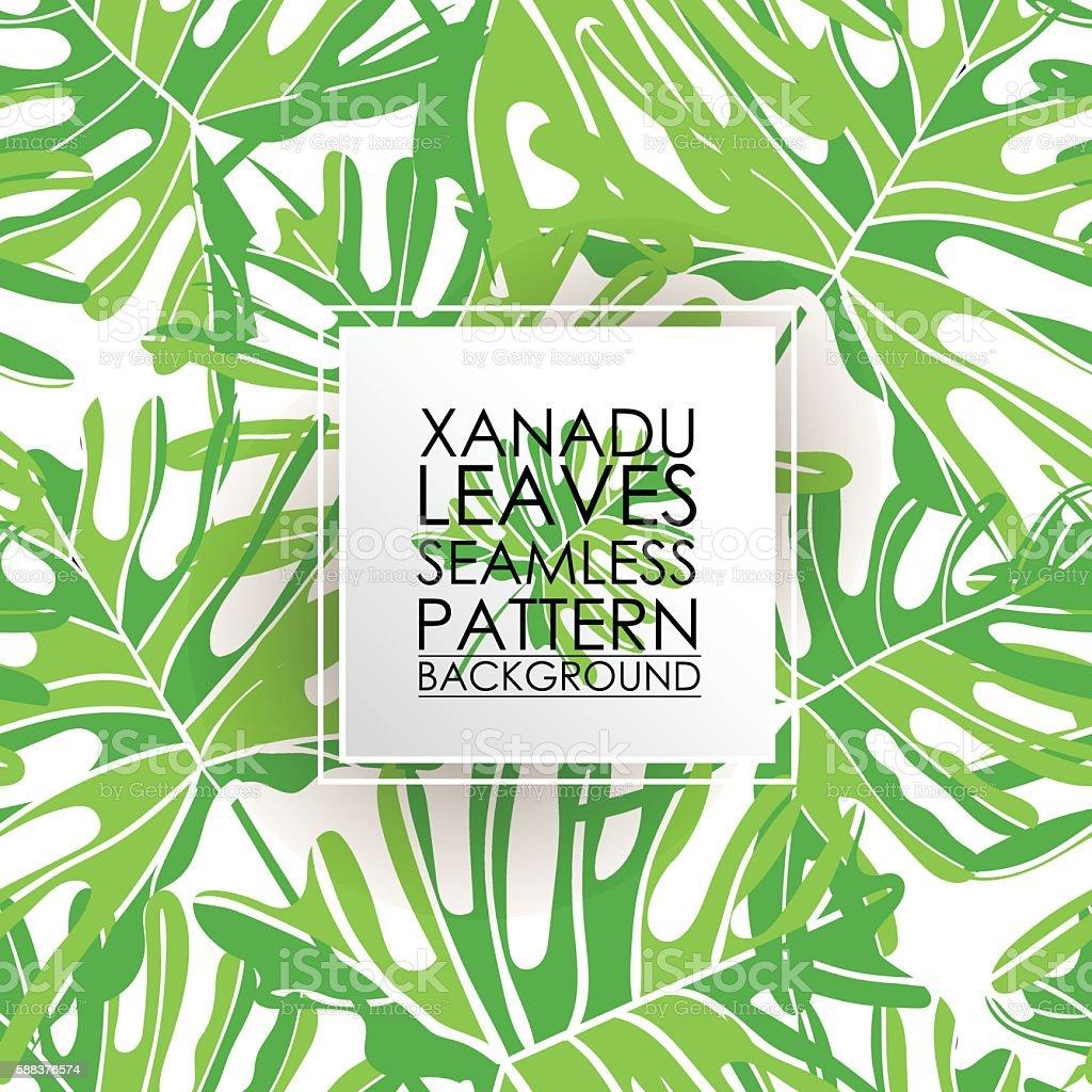 Pattern seamless Xanadu leaves background. vector art illustration