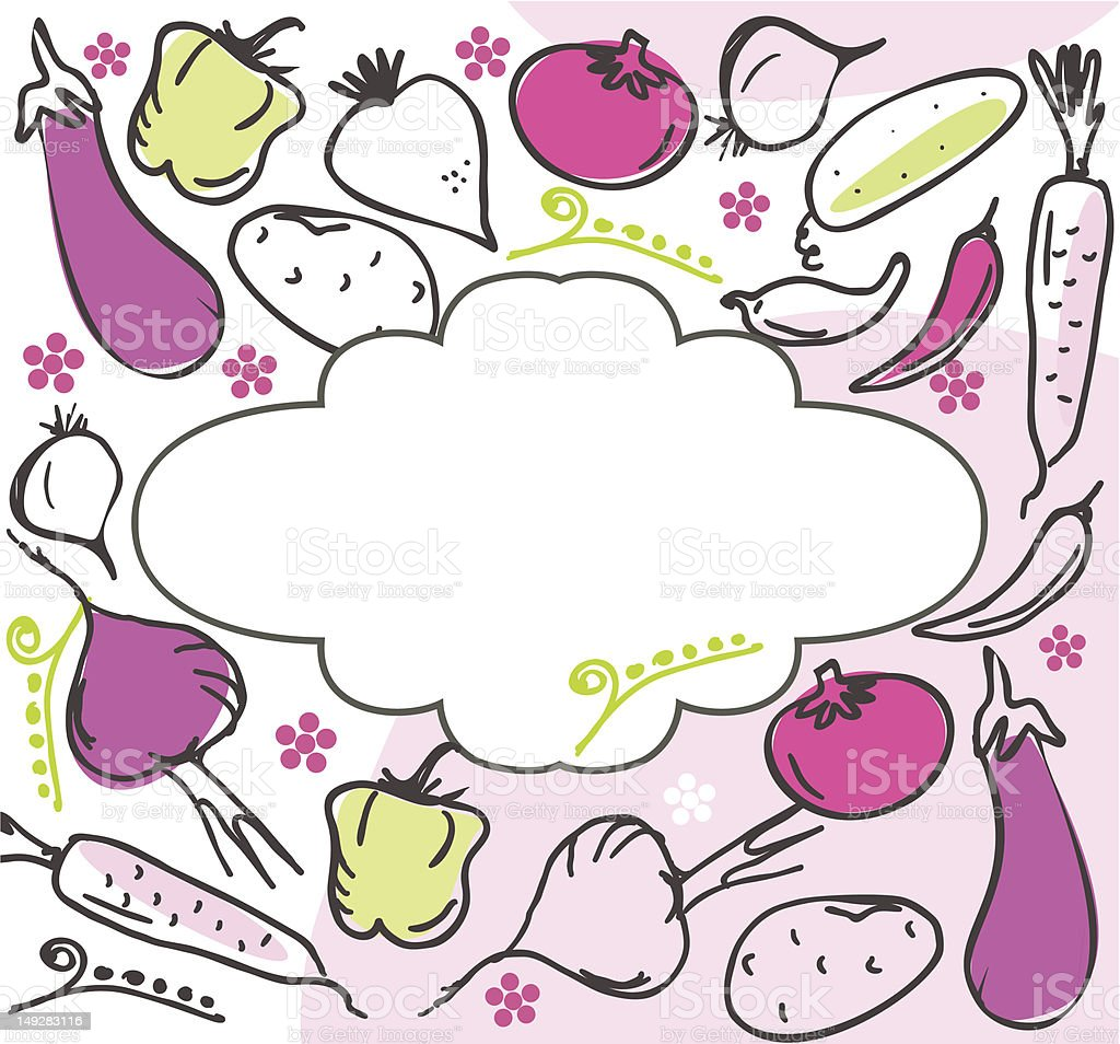 pattern vegetables with a banner vector art illustration