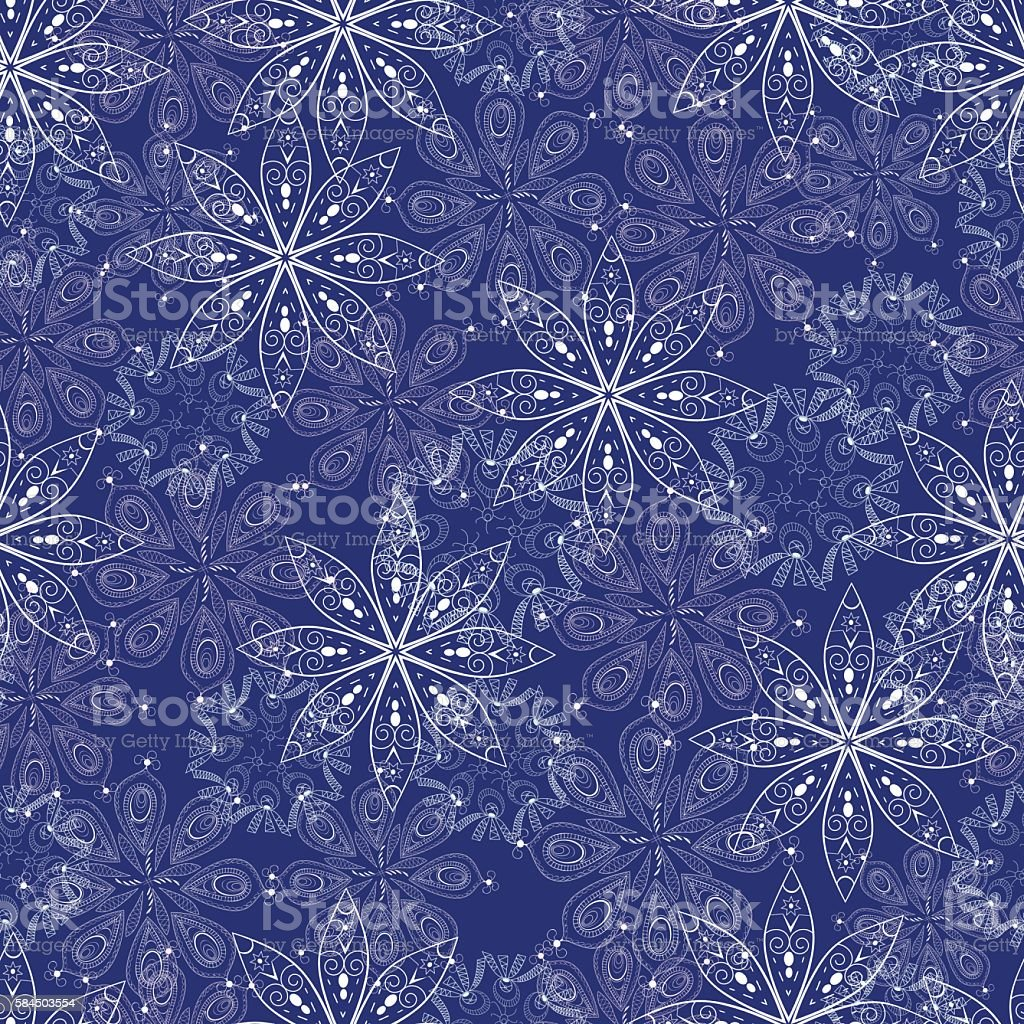 Pattern white abstract snowflakes on a blue background royalty-free stock vector art