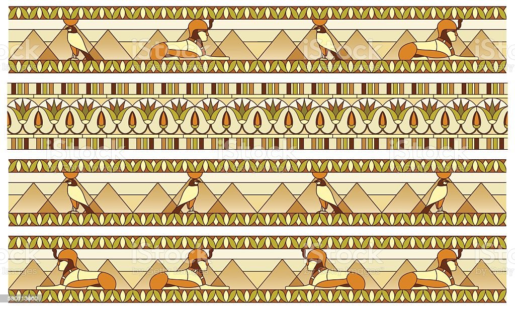 Pattern with ancient Egyptian symbols vector art illustration