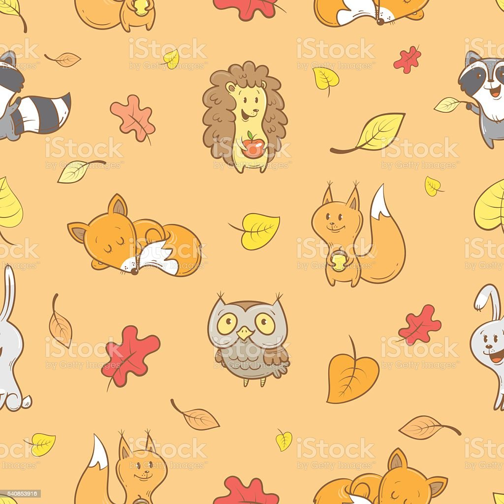 Pattern with animals. vector art illustration