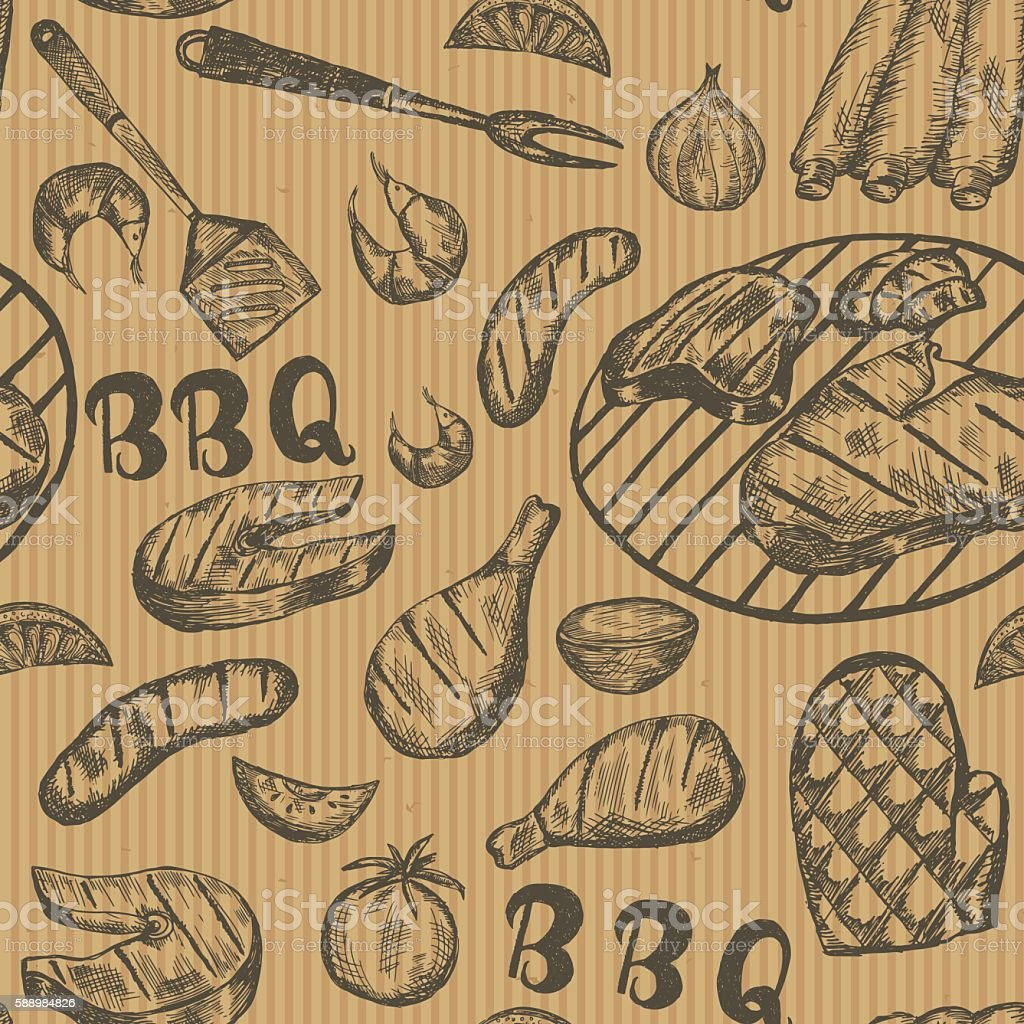 Pattern with barbecue food on craft paper. vector art illustration