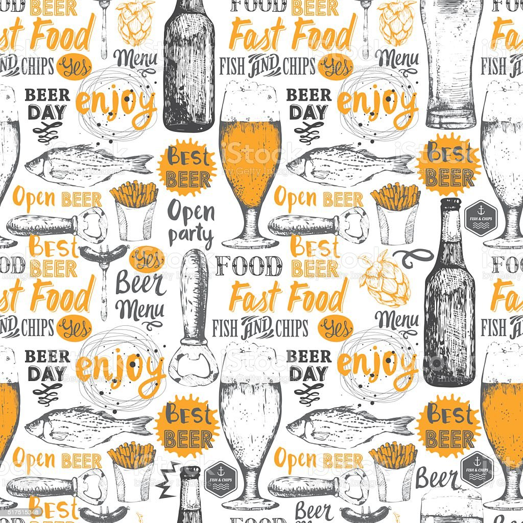 Pattern with beer, cider and snack in sketch style. vector art illustration